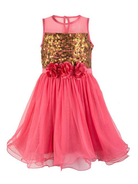 Branyork Pink Sequinned Fit and Flare Dress