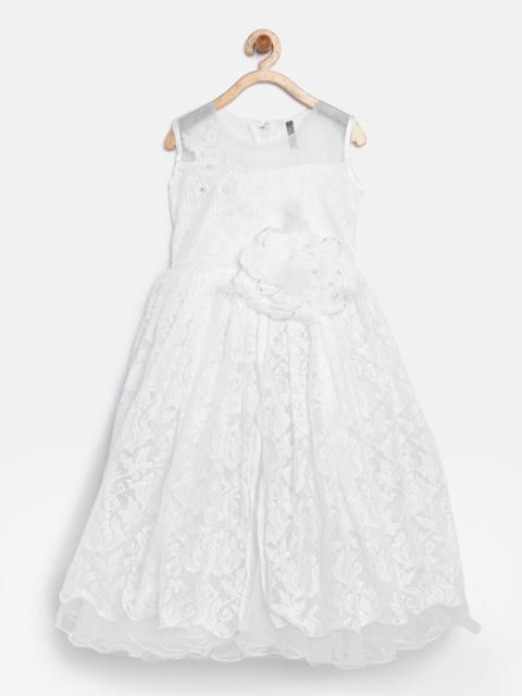 Branyork White Lace Fit and Flare Dress