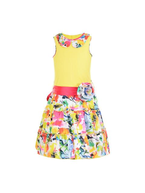 Branyork Yellow Printed A-Line Dress