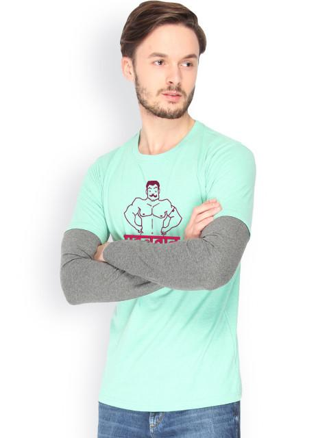 Daneaxon Sea Green Printed T-shirt