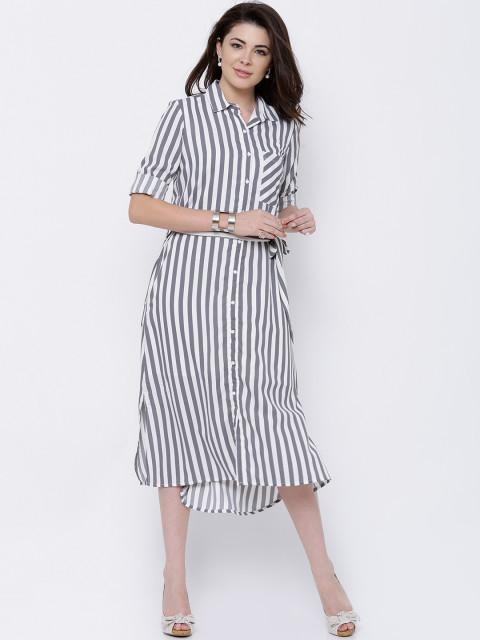 Rosyalps Grey & White Striped Shirt Dress