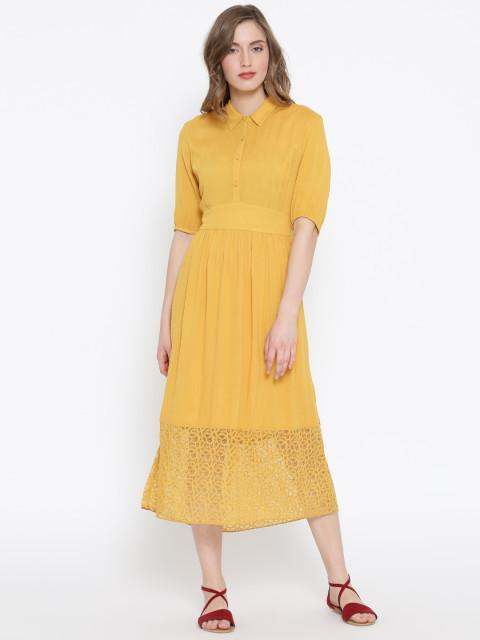 Rosyalps Mustard Yellow Solid Midi Shirt Dress