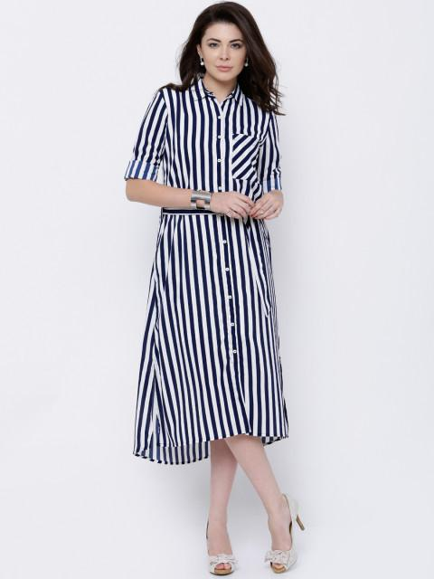 Rosyalps Navy & White Striped Shirt Dress