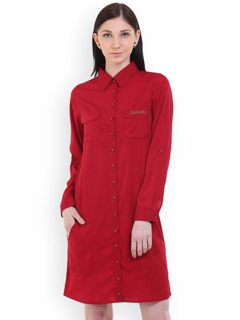 Rosyalps Red Shirt Dress
