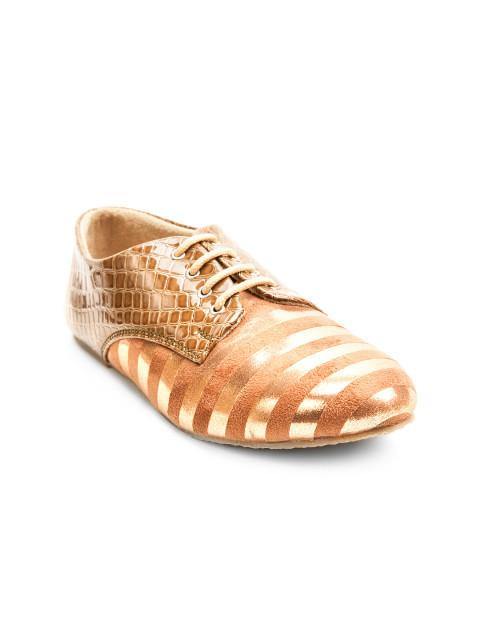 Scamanus Tan Brown & Gold-Toned Striped Casual Shoes