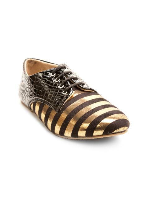 Scamanus Brown & Gold-Toned Striped Casual Shoes