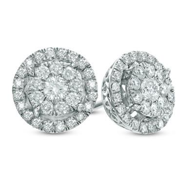 Double Halo Diamond Stud Hoops