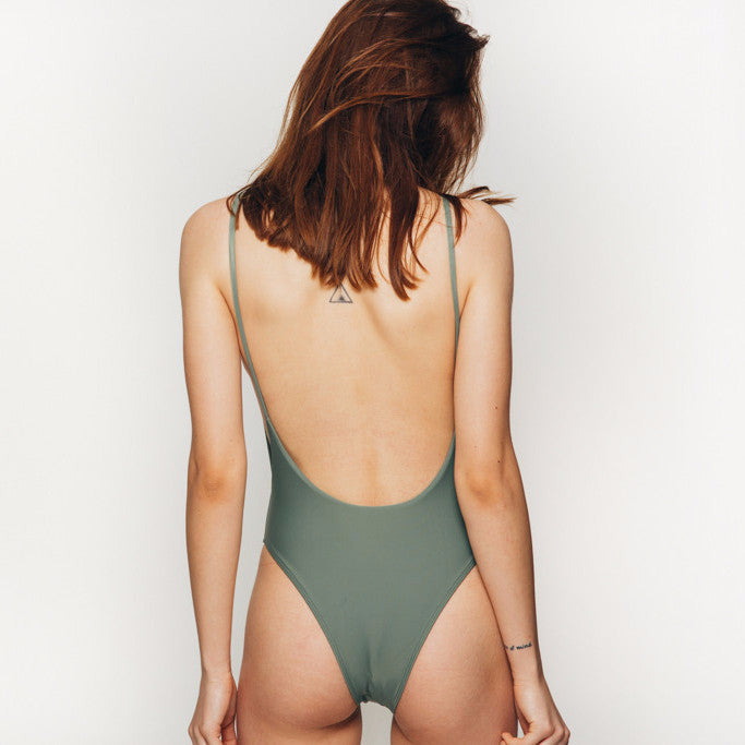 The Wanderlast Cantik swimwear byron one piece swimsuit bodysuit in khaki green army back close up
