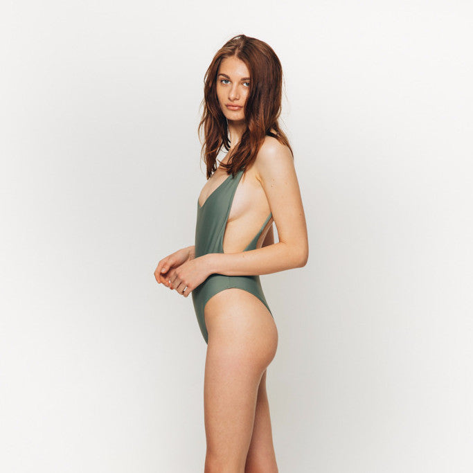 The Wanderlast Cantik swimwear byron one piece swimsuit bodysuit in khaki green army side