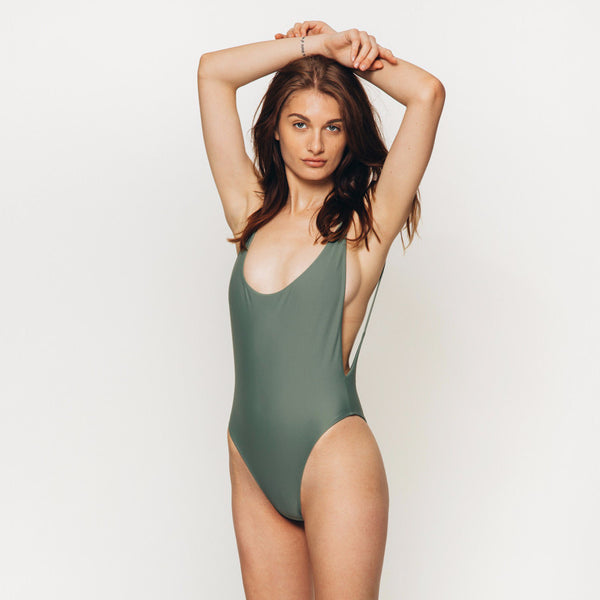 The Wanderlast Cantik swimwear byron one piece swimsuit bodysuit in khaki green army front