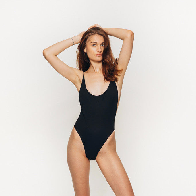 The Wanderlast Cantik swimwear byron one piece swimsuit bodysuit black front
