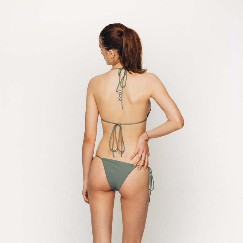 The Wanderlast Cantik swimwear string along bikini bottom in  khaki green army back