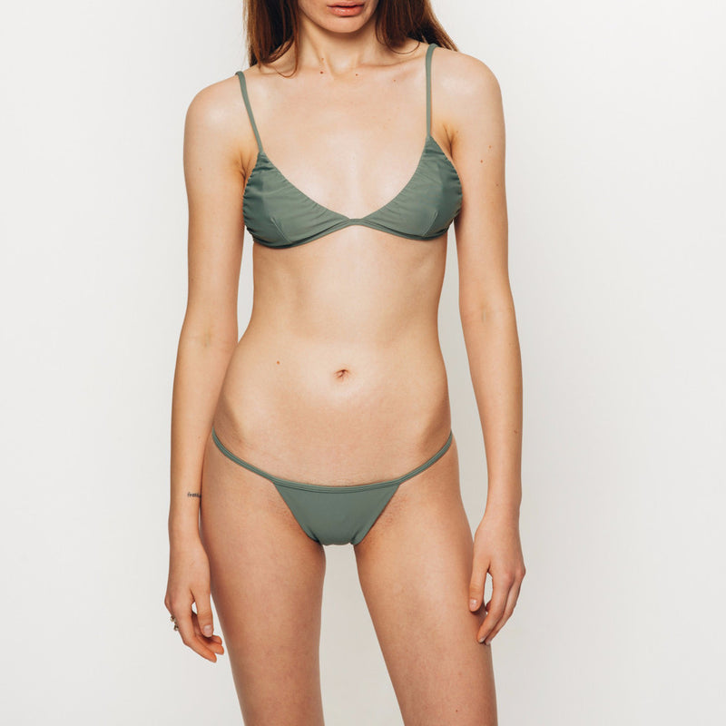 The Wanderlast Cantik swimwear phoenix bikini top in green khaki army front close up