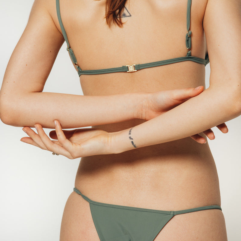 The Wanderlast Cantik swimwear phoenix bikini top in green khaki army back