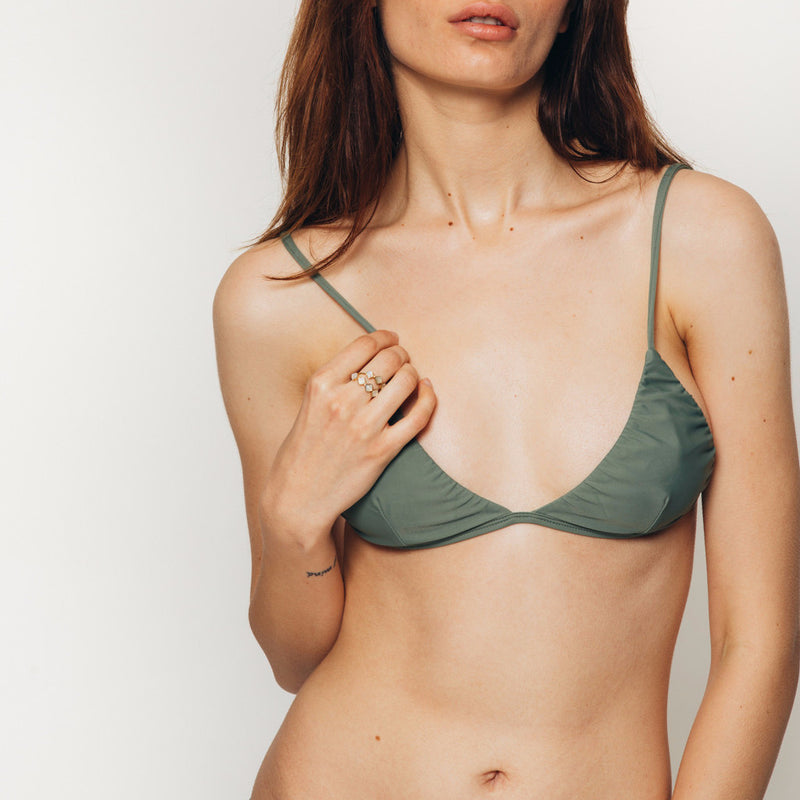The Wanderlast Cantik swimwear phoenix bikini top in green khaki army front details