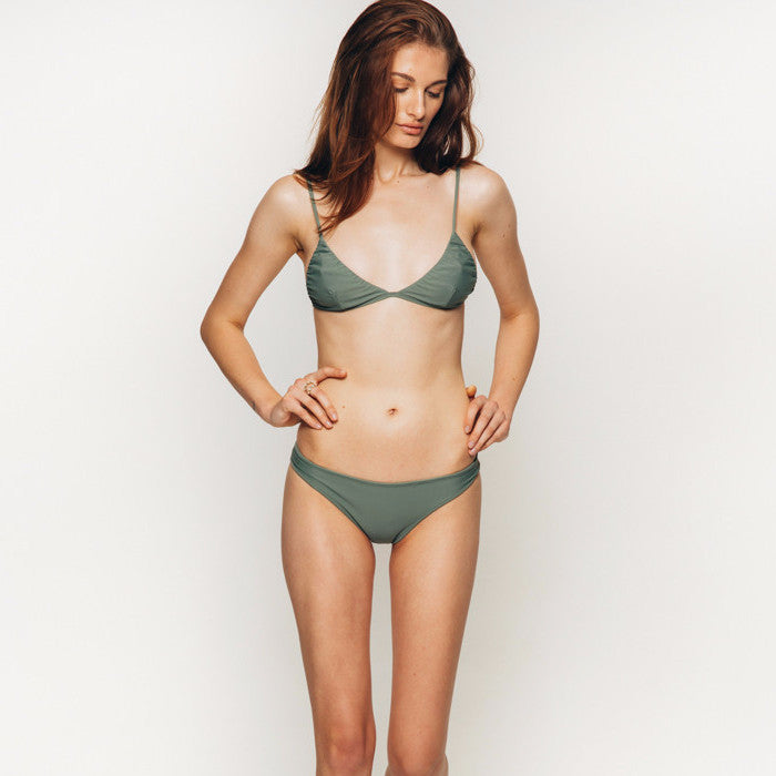The Wanderlast Cantik swimwear phoenix bikini top in green khaki army front