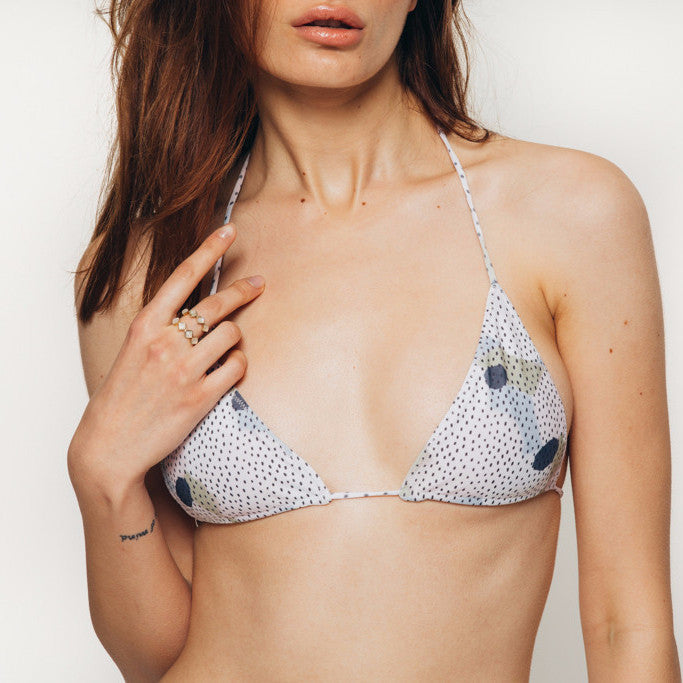 The Wanderlast Cantik swimwear string along bikini top in camo print