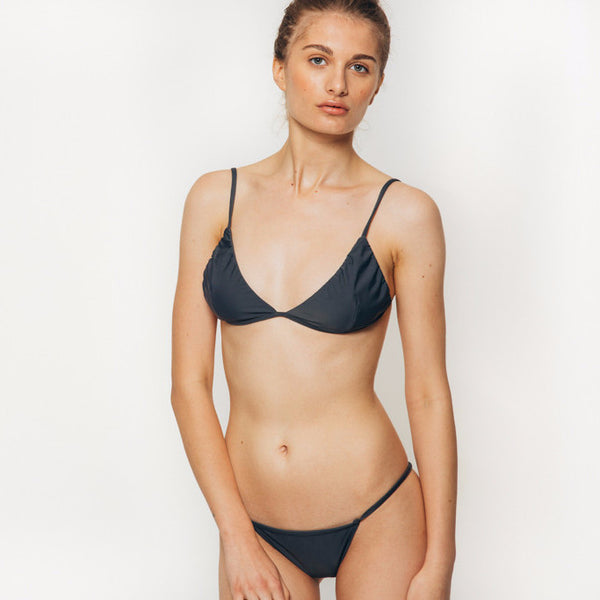 The Wanderlast Cantik swimwear phoenix bikini top in grey slate front