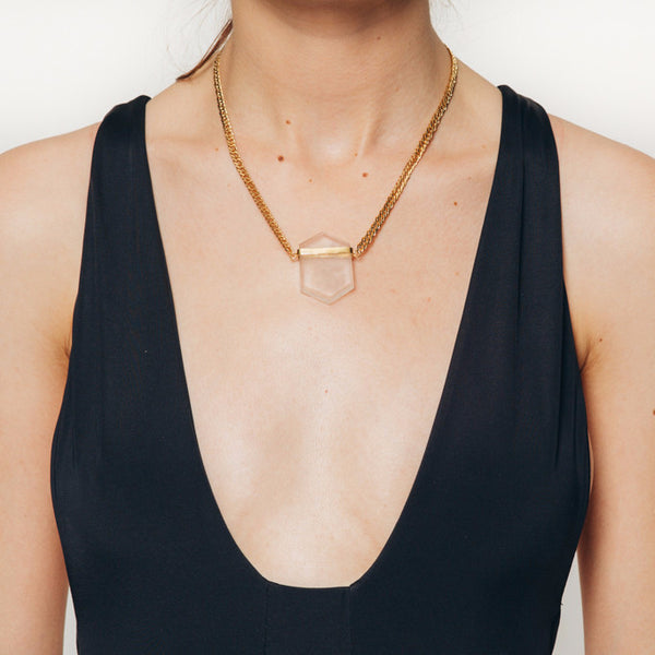 The Wanderlast Alma de Piedra hand-made one of a kind clear quartz necklace in gold