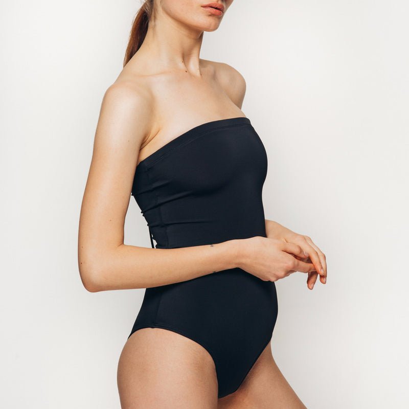 Palm swimwear one piece laced up body suit swimsuit in black strapless front view side view