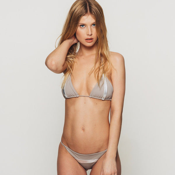 The Wanderlast Djunah swimwear nusa silver bikini top in grey silver front