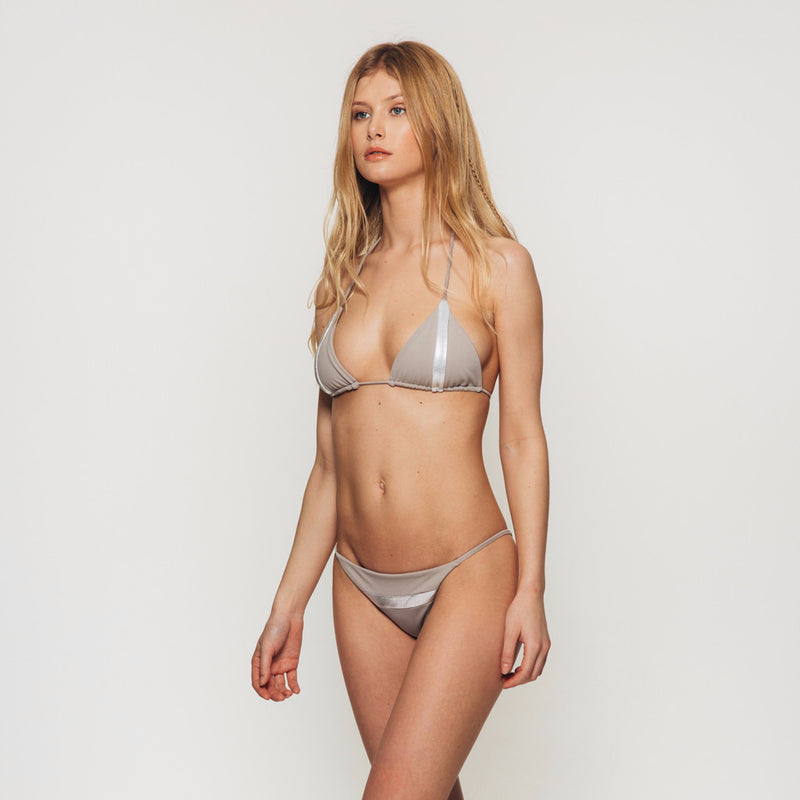 The Wanderlast Djunah swimwear sunset bikini bottom in silver stone grey  side