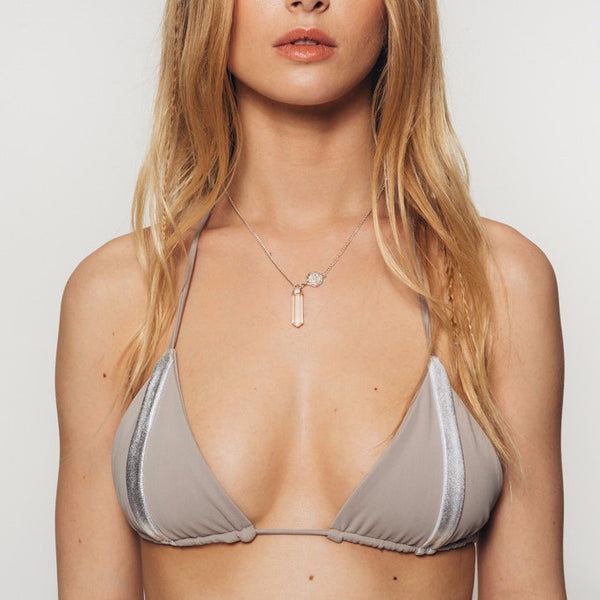 The Wanderlast Djunah swimwear nusa silver bikini top in grey silver