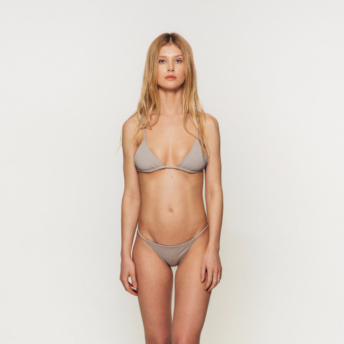 The Wanderlast Djunah swimwear salty bottom stone grey bikini set front