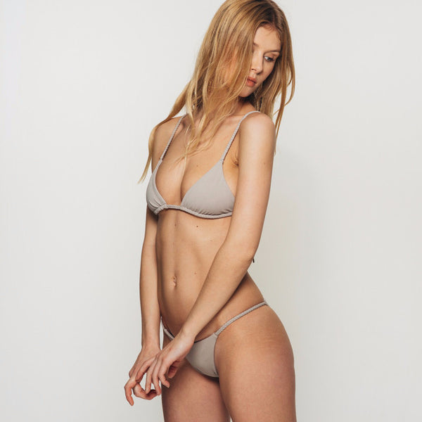 The Wanderlast djunah swimwear lina bikini top in stone grey