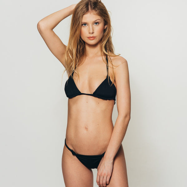 the Wanderlast Djunah swimwear paradiso bikini top in black