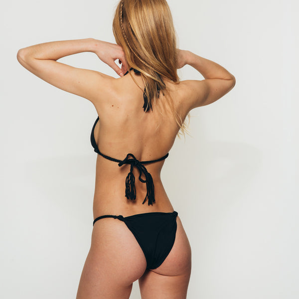 the Wanderlast Djunah swimwear paradiso bikini top in black back side