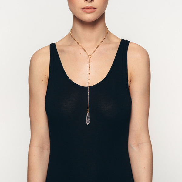 The Wanderlast Alma de Piedra hand-made one of a kind rose quartz crystal gold long necklace