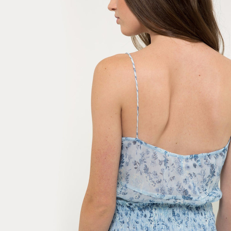 Chiffon camisole in blue flower pattern from Hannah Artwear The Wanderlast