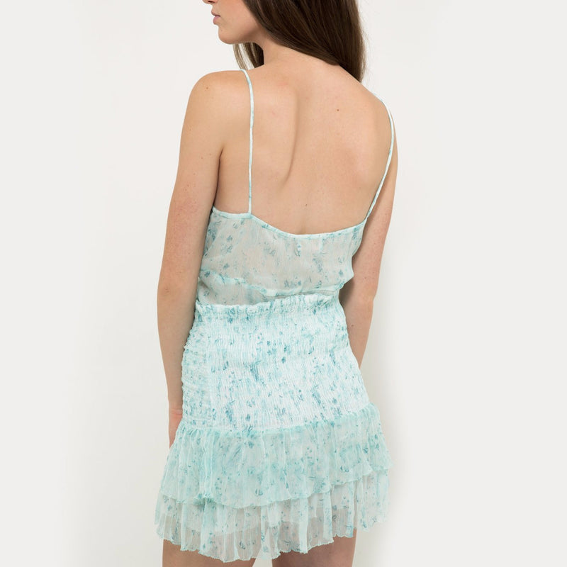 Chiffon mini skirt in light blue with flower pattern Hannah Artwear The Wanderlast back details