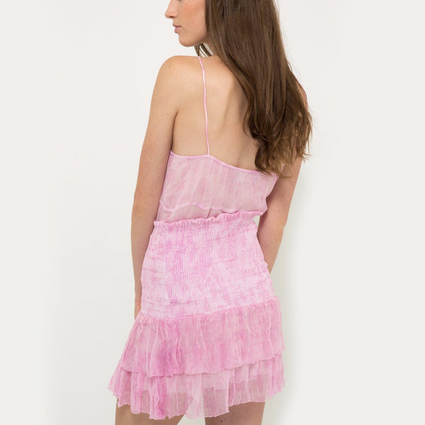 Chiffon mini skirt in baby pink flower pattern from Hannah Artwear The Wanderlast