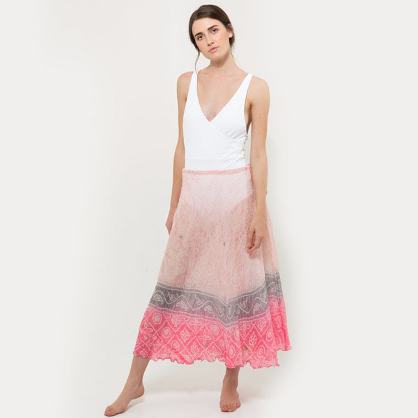 Long silk skirt in pink