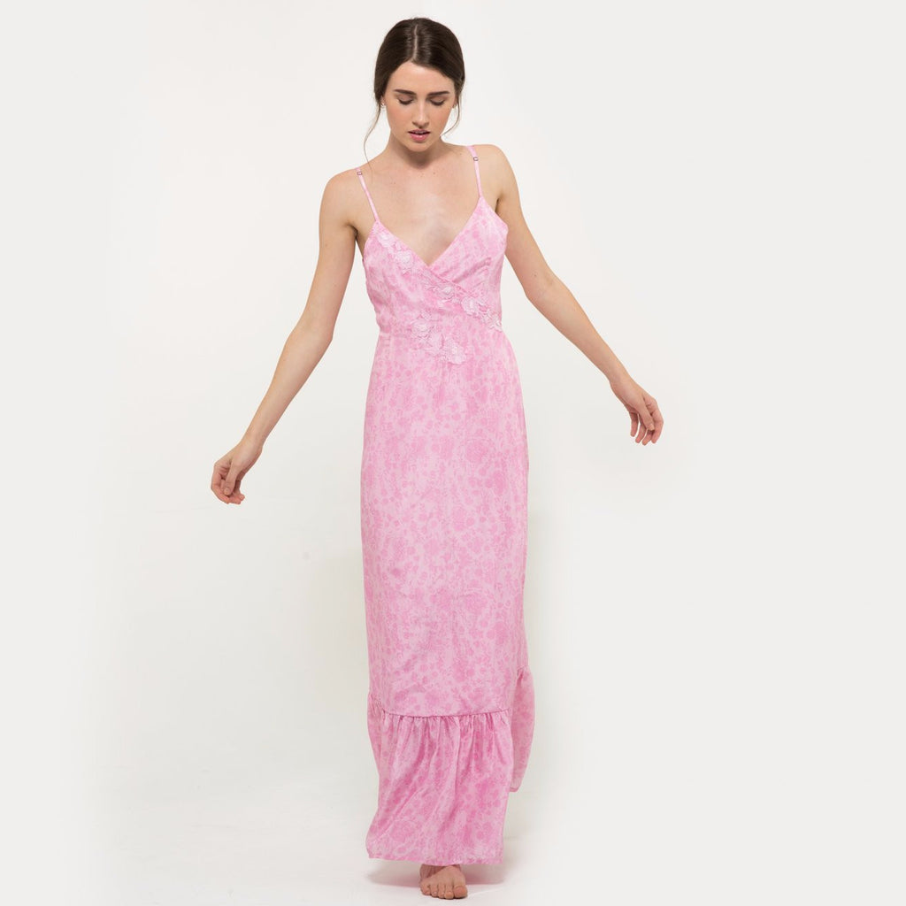 767c0ec32 Hannah artwear the wanderlast pink chiffon long embroidered dress with  embellishment in baby pink and white ...
