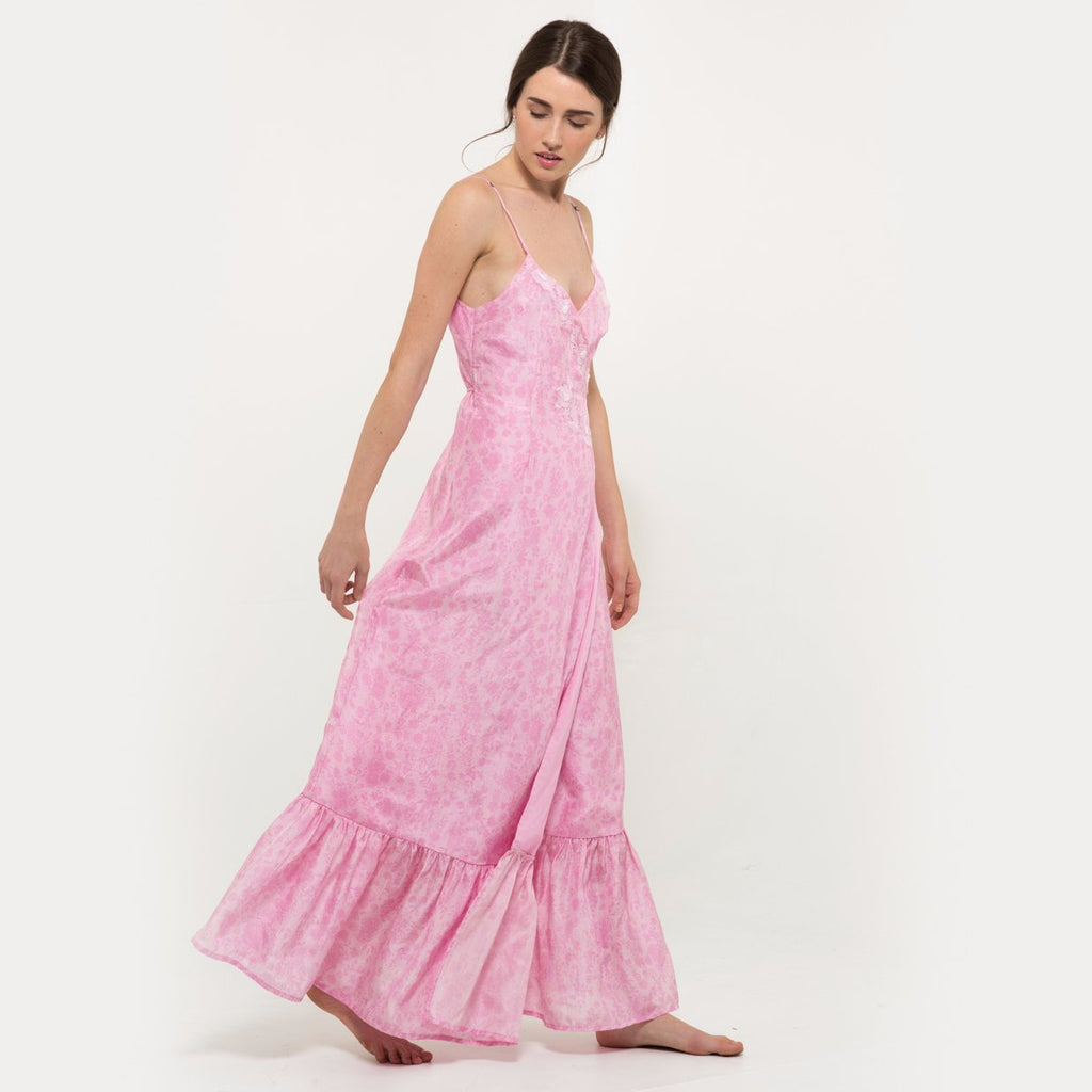 d5681d303 ... Hannah artwear the wanderlast pink chiffon long embroidered dress with  embellishment in baby pink and white ...