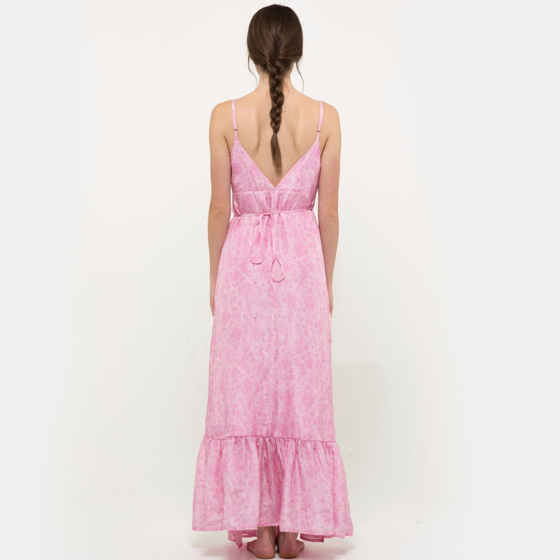 Hannah artwear the wanderlast pink chiffon long embroidered dress with embellishment in baby pink and white flowers