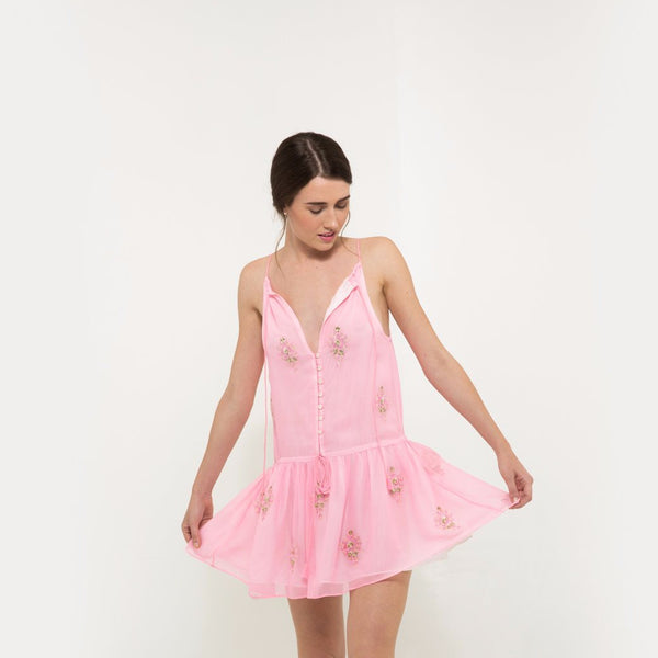 Pink mini dress with embellishment
