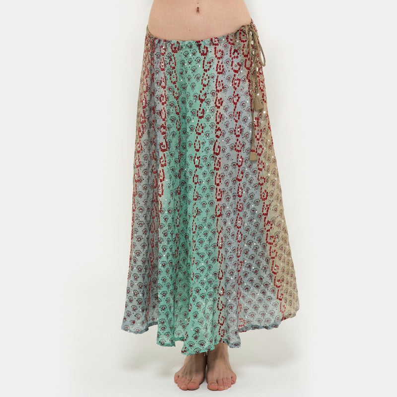 Long silk skirt in storm
