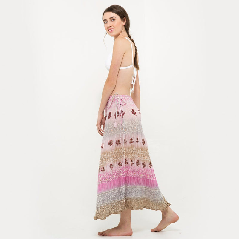 Long silk skirt in lavander