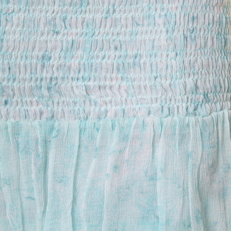 Chiffon mini skirt in light blue with flower pattern Hannah Artwear The Wanderlast details