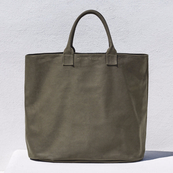 Khaki cotton canvas bag