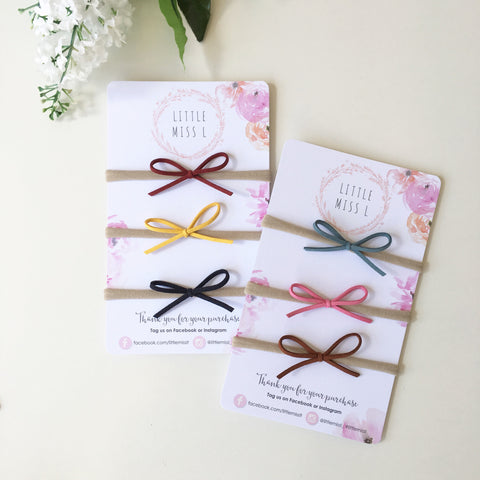 Thin Suede Bows 3 Pack