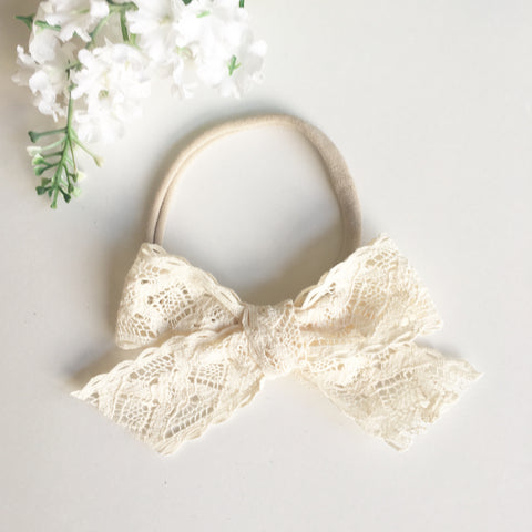 Cream Lace Bow