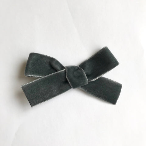 Large grey velvet bow