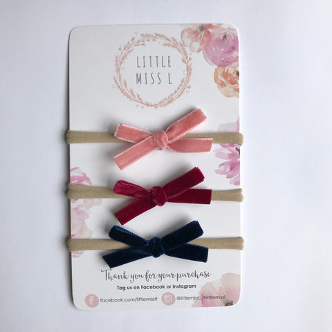 Mini dusty pink, wine, navy velvet bow set