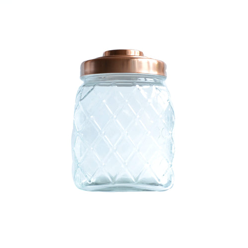 Large Glass and Copper Stationery Jar