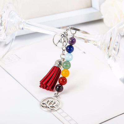 Chakra Energy Natural Stone Bead Key Chain with Yoga Lotus Tassel